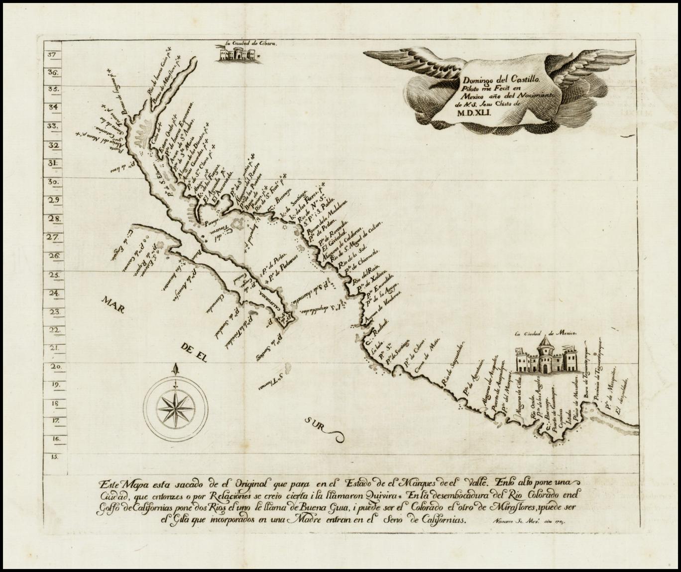 Karte von Kalifornien, 1541