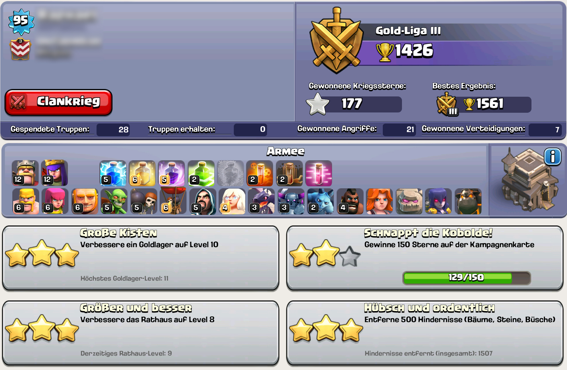 """Abbildung 2: Spielerprofil mit Übersicht über die akkumulierten Erfolge (Screenshot aus """"Clash of Clans"""" 2012)"""