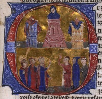 Eine historische Illustration Raynaults bei der Folter des katholischen Patriarchs von Antiochien