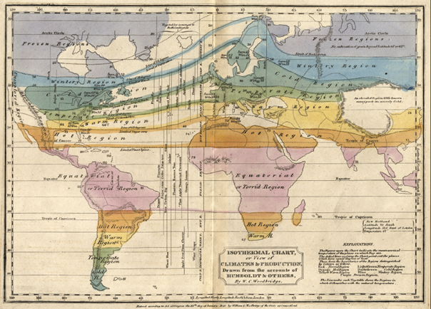 Abb. 2: Klimazonenkarte aus dem frühen 19. Jahrhundert.