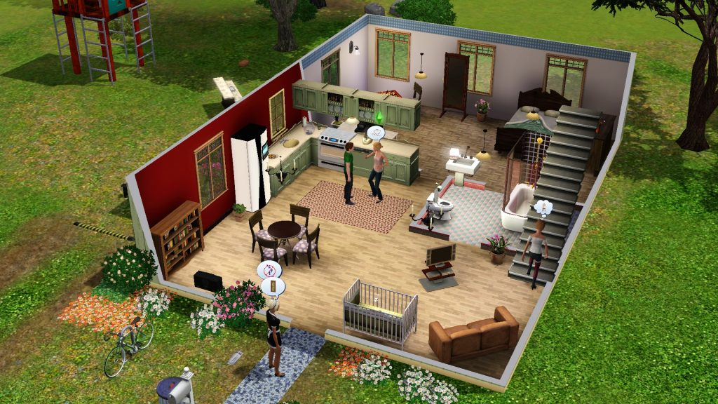 "Puppenhausansicht in The Sims 3 (Screenshot aus: ""The Sims 3"" (2006))"