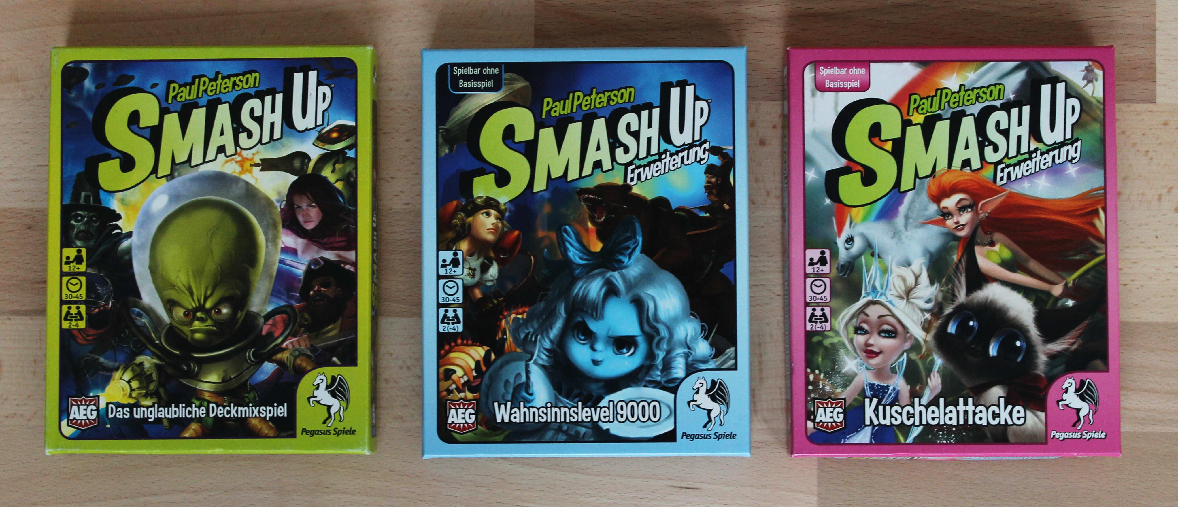 Abb.: Smash Up (2012), Spiel und Erweiterungen. Quelle: Eigene Abb.