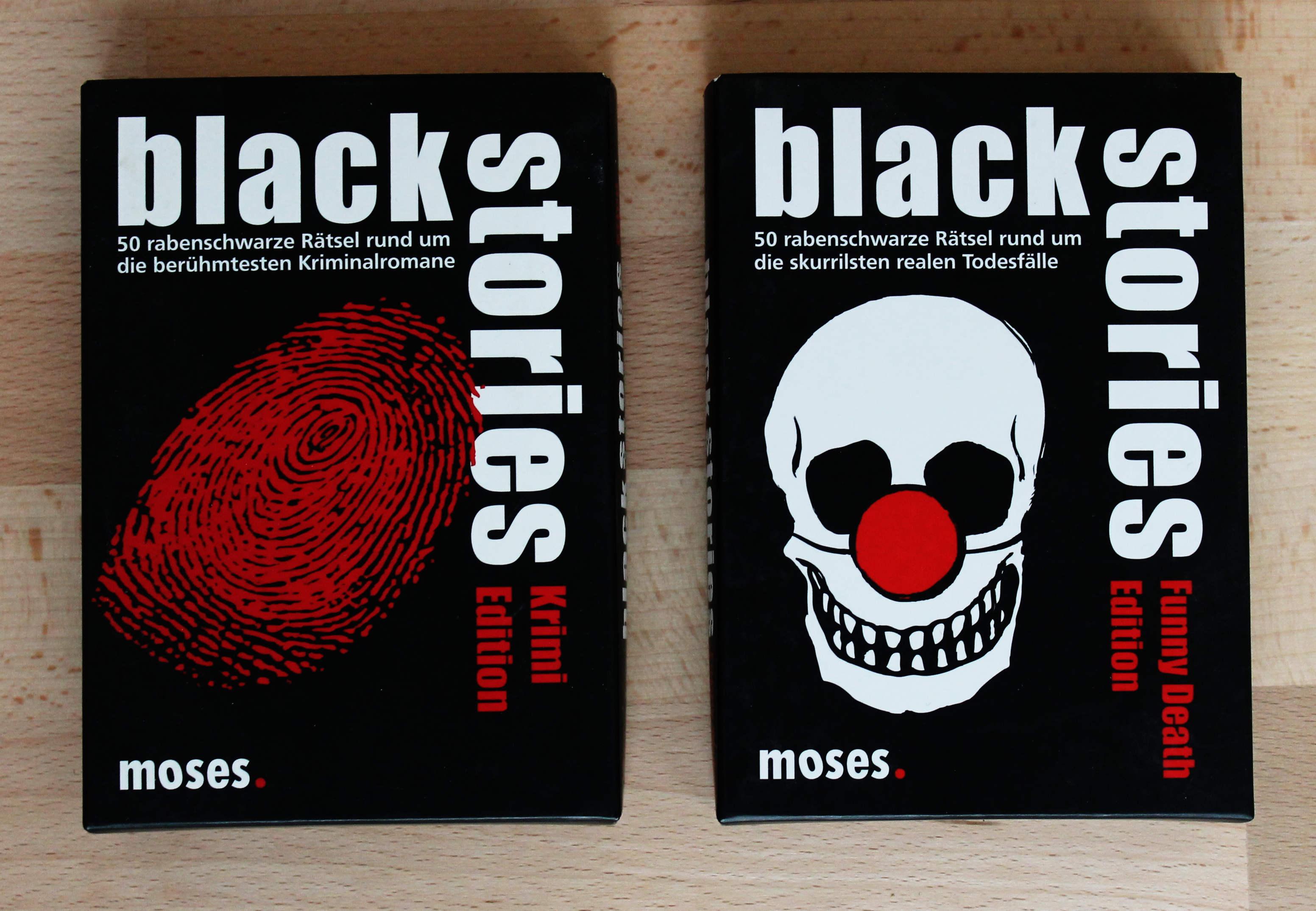 Abb.: Verschiedene Editionen von Black Stories. Quelle: Eigene Abb.