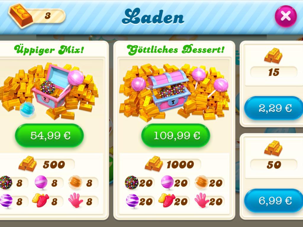 Abb. 1: Angebot im Shop von Candy Crush zu unterschiedlichen Preisen (Clüver).