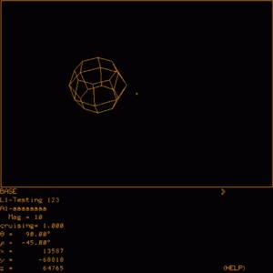 Abbildung 4: Spasim (Version 3.6., 1976) mit Raumstation im Weltraum.