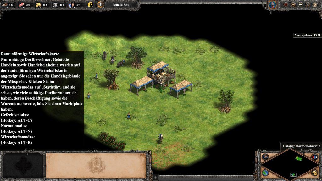 Abb. 1: Isometrische Aufsicht auf das Spielfeld mit Minikarte und Tooltip zu untätigen zivilen Einheiten. Eigener Screenshot.