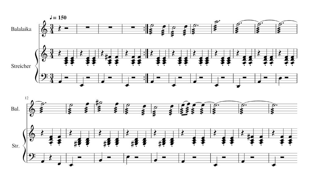 Abb. 3: Strandh: Soviet Assault Waltz, Thema mit Streicherbegleitung