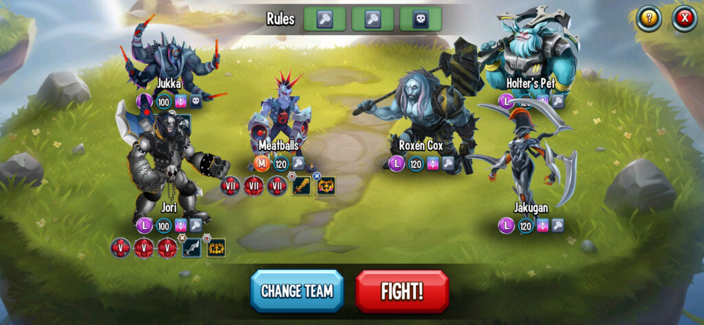 Fig. 1. A screenshot from Monster Legends. Sometimes I name monsters after my colleagues.