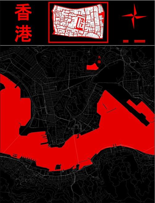 Die stilsicher gestaltete Karte von Shadowrun: Hong Kong (2015)